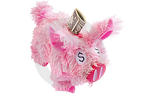 Pink Furry Piggy Bank Isolated On White Stock Photography - Image: 8641422