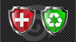 Red And Green Shield Royalty Free Stock Images - Image: 8641659