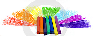 Seven Wax Crayons Stock Images - Image: 8641724