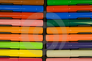 Color Felt-tip Pens With Caps Stock Image - Image: 8641811