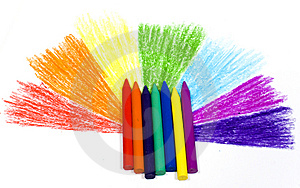 Rainbow With Wax Pencils Stock Photos - Image: 8642043