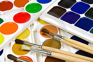 Set Of Brushes And Water Colour Paints Stock Photography - Image: 8642422
