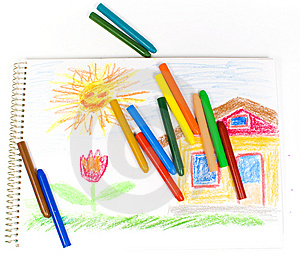 Some Oil Pencils On A Background Of An Album Royalty Free Stock Images - Image: 8642439
