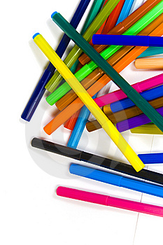 Chaotic Heap Of Color Felt-tips Royalty Free Stock Photos - Image: 8642488
