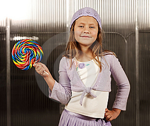 Cute Young Girl With Lollipop Royalty Free Stock Photos - Image: 8642518