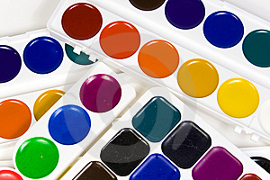 Fluorescent, Honey And Usual Water Colour Paints Royalty Free Stock Photography - Image: 8642557
