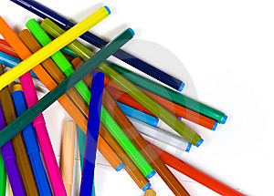 The Children's Color Felt-tip Pens Heaped Royalty Free Stock Photo - Image: 8642645
