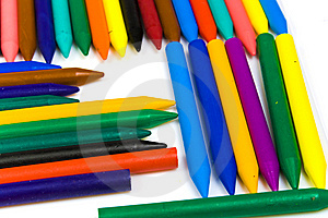 Some Bright Multi-coloured Wax Pencils Stock Photos - Image: 8642703
