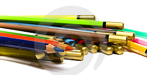 Set Color Wooden Pencils Heaped Royalty Free Stock Photography - Image: 8642967