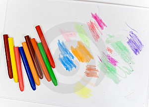 Eight Oil Pencils On A White Plastic Board Royalty Free Stock Photography - Image: 8643077