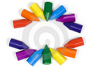 Two Semicircles, Their Made Wax Crayons Stock Photos - Image: 8643293