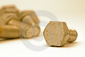 Golden Metal Bolts Stock Photos - Image: 8643723