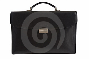 Black Leather Briefcase Isolated On White Stock Photos - Image: 8645043
