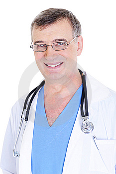 Happy laughing mature male doctor with stethoscope Stock Photography