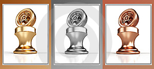 Gold, Silver And Bronze Wheel Awards Royalty Free Stock Photography - Image: 8645877