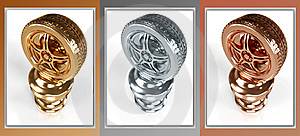 Gold, Silver And Bronze Wheel Awards Royalty Free Stock Photo - Image: 8645885