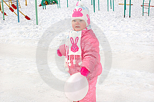 Little Girl On Winter Playground. Royalty Free Stock Photos - Image: 8646078