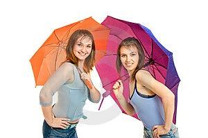 Meisje Twee Met Paraplu Royalty-vrije Stock Afbeeldingen - Afbeelding: 8646109