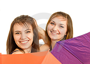 Two Girl With Umbrella Stock Images - Image: 8646114