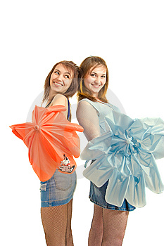 Two Girl With Umbrella Royalty Free Stock Image - Image: 8646136