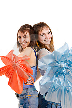 Two Girl With Umbrella Stock Image - Image: 8646171