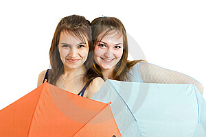 Two Girl With Umbrella Royalty Free Stock Image - Image: 8646206