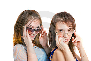 Two Girls With Eyeglasses Stock Images - Image: 8646334