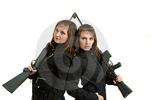 Two Gils With Guns Stock Images - Image: 8646394