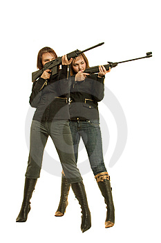 Two Gils With Guns Royalty Free Stock Photo - Image: 8646455