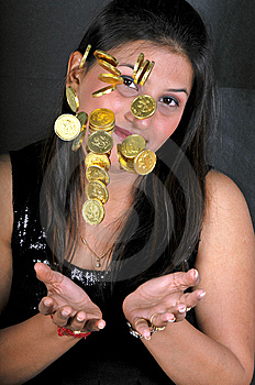 Girl With Gold Coins Royalty Free Stock Image - Image: 8648196