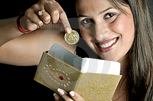 Girl With Coin Royalty Free Stock Photo - Image: 8648905