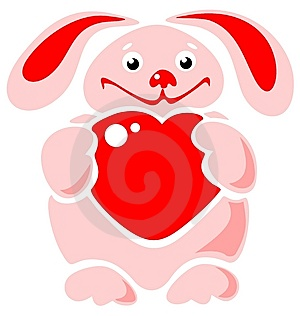 Happy Rabbit With Heart Royalty Free Stock Image - Image: 8649406