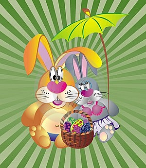 Easter Card With Dunnies And Basket Of Eggs Stock Images - Image: 8650104