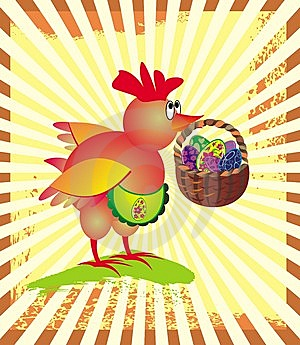Easter Greeting Card With  Chicken Stock Photo - Image: 8650170
