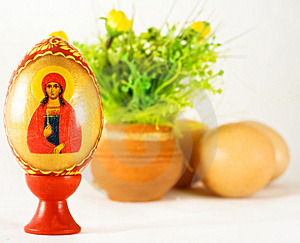 Easter And Religion - Painted Egg And Ornaments Royalty Free Stock Photo - Image: 8650195