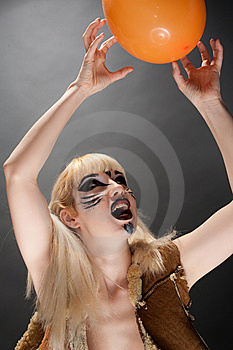 Cat-woman Playing With A Ball Stock Photos - Image: 8651063