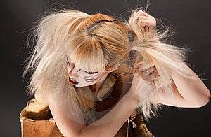 Cat-woman Is Brushing Royalty Free Stock Photo - Image: 8651115