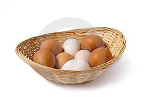Chicken Eggs Are In A Small Basket Stock Photos - Image: 8651183