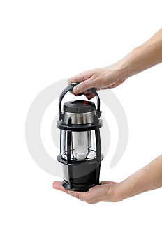 Portable Lamp In Man Hands Stock Photography - Image: 8652682