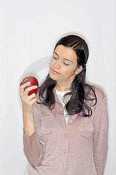 Young Woman Holding Apple Stock Images - Image: 8653344
