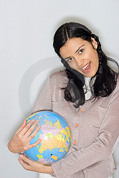 Woman With Globe Royalty Free Stock Image - Image: 8653446