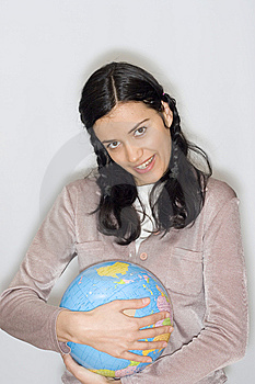 Woman With Globe Royalty Free Stock Image - Image: 8653466