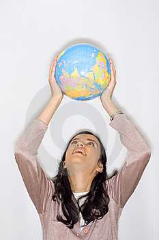 Woman With Globe Royalty Free Stock Image - Image: 8653506
