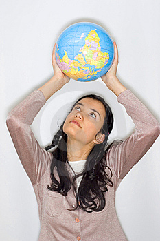 Woman With Globe Royalty Free Stock Photos - Image: 8653508