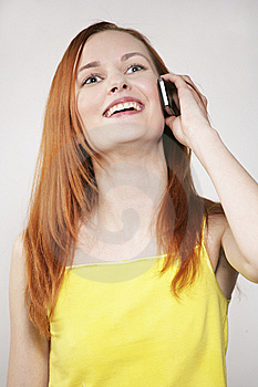 The Girl Talks And Laughs Royalty Free Stock Photos - Image: 8654048