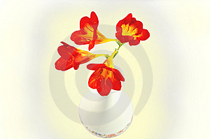 Red Day-lilies In Vase Isolated Over White With Cl Stock Photos - Image: 8654403