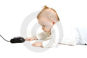 Baby With Computer Mouse Stock Images - Image: 8654994