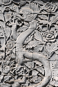 The Dragon Was Carved Out Of Stone Royalty Free Stock Photos - Image: 8658318