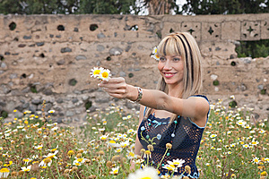 Woman And Flowers Royalty Free Stock Photo - Image: 8659965