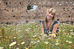 Woman And Flowers Royalty Free Stock Photos - Image: 8660008